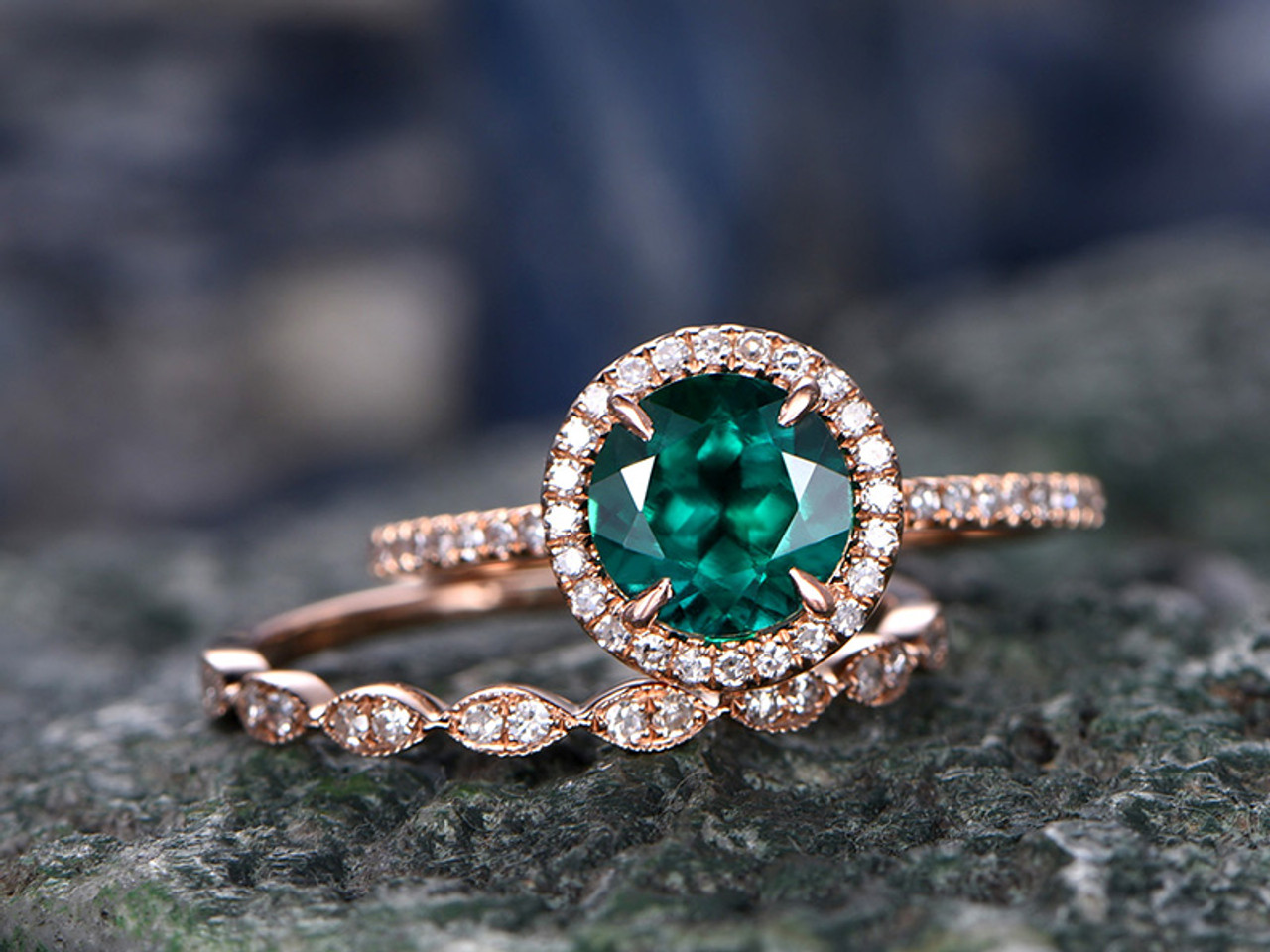 Emerald Ring Wedding Set