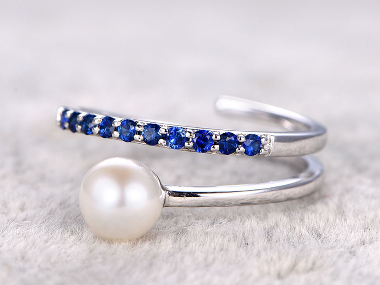 Well known 6mm Akoya pearl ring sapphire engagement ring Seawater pearls thin  ST72