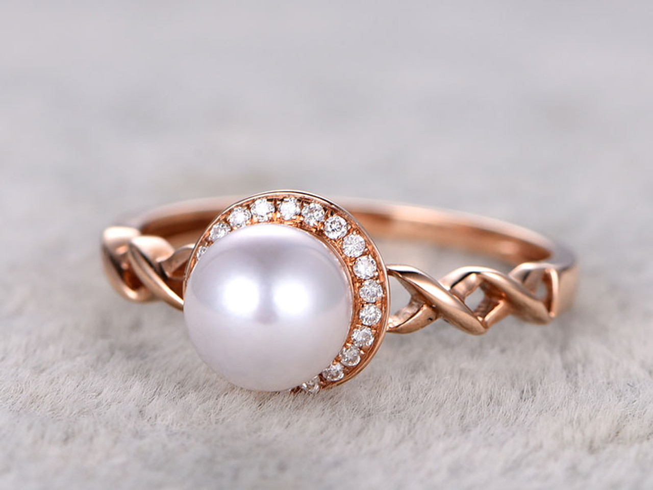 products gold ring solid pearl half diamonds pearls with halo diamond crown engagement artemer