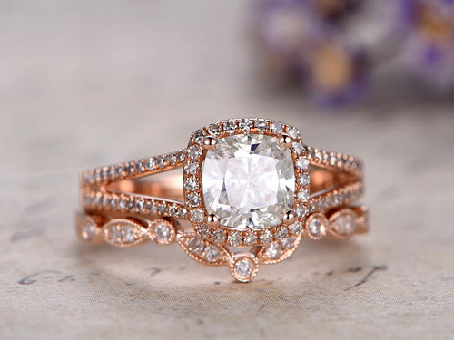 Moissanite wedding sets rose gold white gold bbbgem