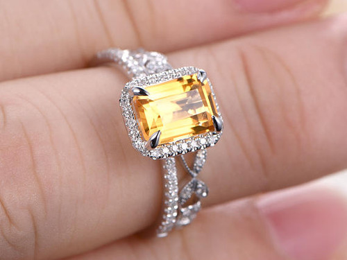 6x8mm Emerald Cut Citrine Engagement Ring Set Solid 14K White Gold