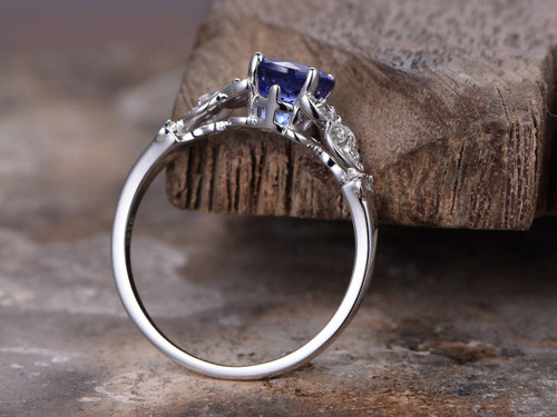Sapphire ringArt Deco Engagement ring7mm round created blue gem