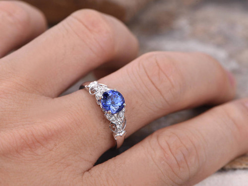 Sapphire ring Art Deco Engagement ring 7mm round created blue gem