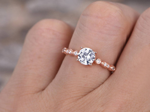 ... 6.5mm Round Cut CZ Engagement Ring,925 Sterling Silver Wedding  Band,Rose Gold