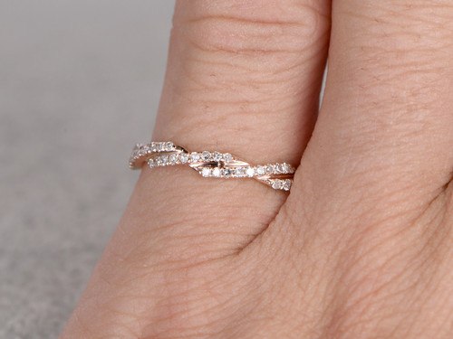 Curved Diamond Wedding Ring Solid 14K Rose gold Unique Twisted ...
