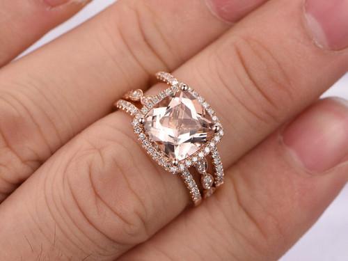 Morganite Wedding Ring Set Rose Gold Engagement 8x8mm Cushion Cut Pink Stone