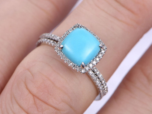 Sleeping Beauty Turquoise Ring Set 8mm Cushion Cut Engagement Wedding