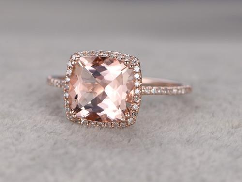 ... 9mm Big Cushion 3 Carat Morganite Engagement Ring Diamond Wedding Ring  14k Rose Gold Claw Prongs ...