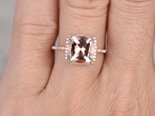 ... 9mm Big Cushion 3 Carat Morganite Engagement Ring Diamond Wedding Ring  14k Rose Gold Claw Prongs