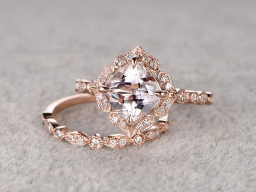 8mm Cushion Morganite Wedding Set Diamond Bridal Ring 14k Rose Gold Retro Vintage Floral Matching Band