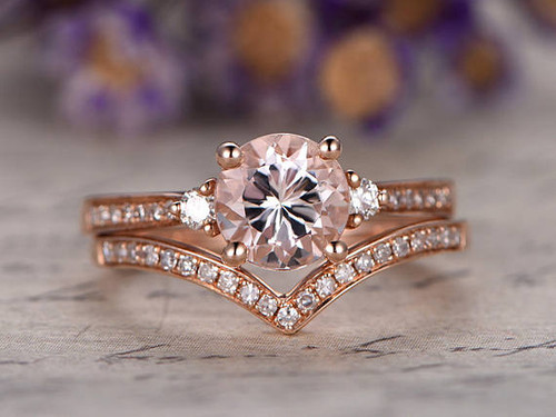 Morganite wedding set morganite bridal set rose gold morganite