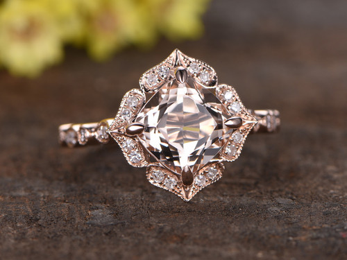 2 to 2.5 Carat Cushion Cut Morganite Ring 14k Rose gold diamond Engagement Ring Stacking band Art Deco Floral Claw Prongs
