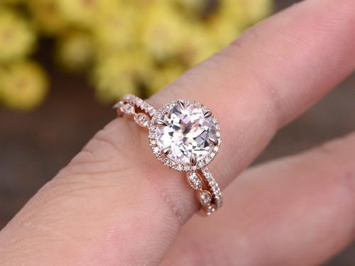 18 Carat Morganite Rose Gold Wedding Set Diamond Engagement Ring Halo 6 Prongs Art Deco