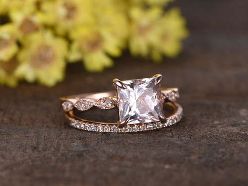 12 Carat Princess Cut Morganite Rose Gold Wedding Set Diamond Art Deco Milgrain Stacking Matching Band