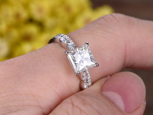 2 Carat Princess Cut Moissanite Engagement Ring Set Diamond Wedding Band 14k White Gold Art Deco