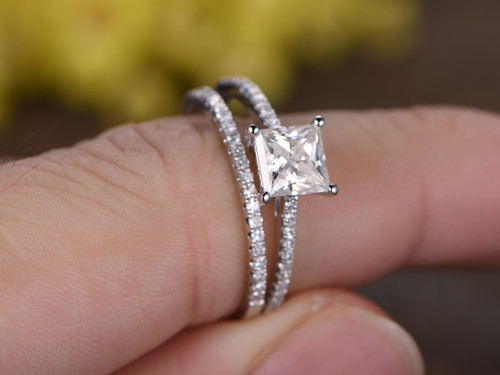 1 Carat Princess Cut Moissanite Engagement Ring Set Diamond Wedding