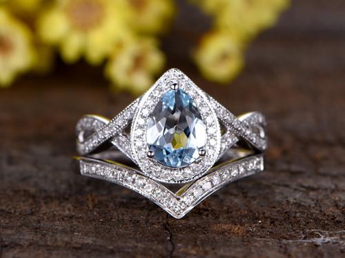 1.2 Carat Oval Aquamarine Bridal Set Diamond Wedding Ring 14k White Gold Split Shank Infinity Matching Band