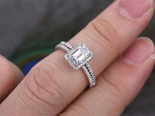 Halo Wedding Ring Set Classic 5x7mm Emerald Cut Moissanite Engagement Ring  Diamond Wedding Ring White Gold ...