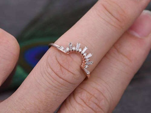 Deco Crown Diamond Wedding Band Solid 14k Rose Gold Promise Ring Baguette Cut Si