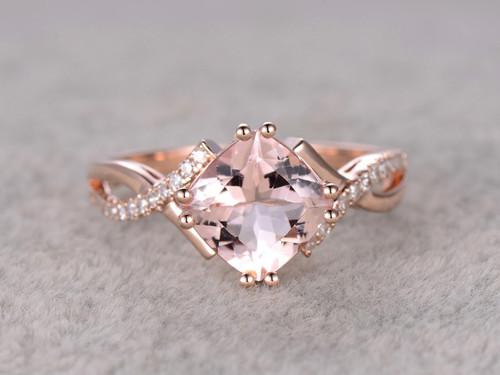 2 4 Carat Cushion Cut Morganite Engagement Ring Diamond