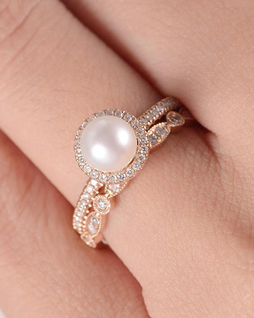 Akoya Pearl Engagement Ring Rose Gold Art Deco Wedding Band Women