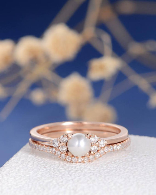 Pearl Jewelry,Pearl And Diamond Engagement Ring   BBBGEM