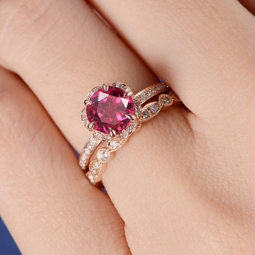 Rose Gold Bridal Set Lab Ruby Engagement Ring Flower Art Deco