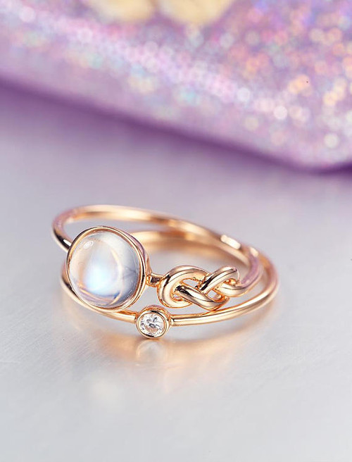 gemstone wedding rings - Moonstone Wedding Ring