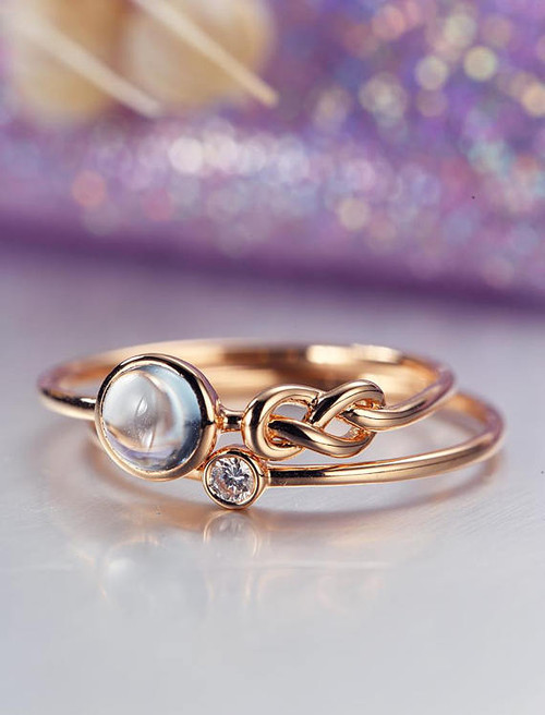 Unique Engagement Ring Set Rose Gold Moonstone Wedding Women Bridal Jewelry Love Knot Stacking Simple Delicate