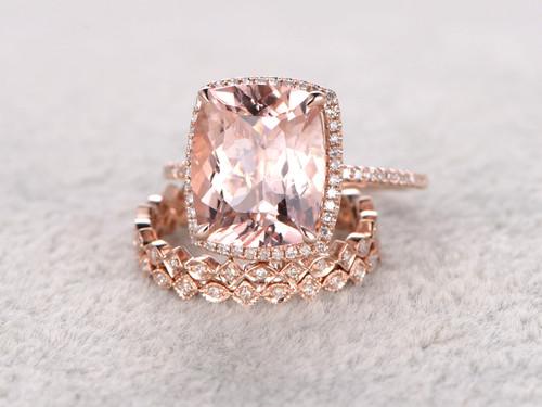 5 Carat Cushion Cut Morganite Wedding Set Diamond Bridal Ring 14k Rose Gold Halo Art Deco Full Eternity Band