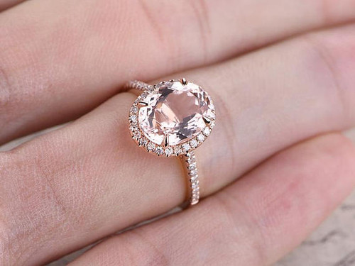 oval cut pink morganite engagement ringsolid 14k rose gold wedding ringdiamond promise - Pink Wedding Ring