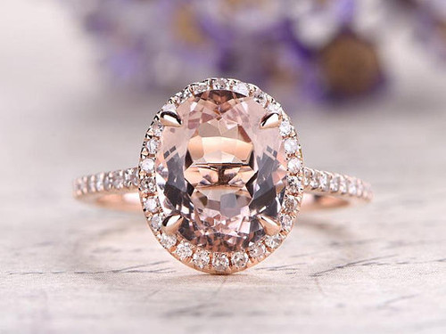 Oval Cut Pink Morganite Engagement Ring,Solid 14k Rose gold wedding ring,diamond promise ring for her