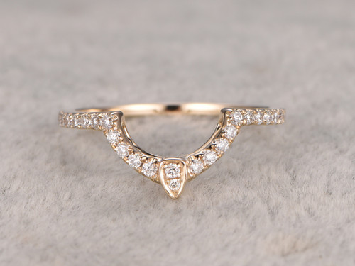 Diamond Matching Band 14k Yellow Gold Antique Art Deco Big Curved Wedding Ring For Her