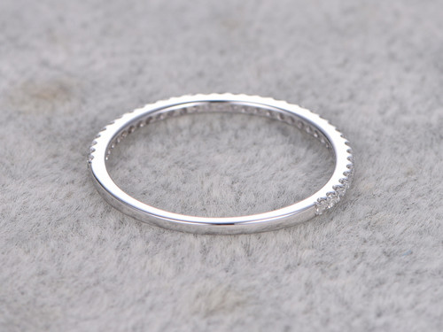 Diamond 3/4 Eternity Rings 14k White Gold Thin Micro Pave Wedding ...