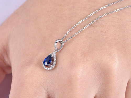 Blue sapphire necklace white gold 05ct lab created sapphire diamond blue sapphire necklace white gold 05ct lab created sapphire diamond pendant 18k jewelry personalized aloadofball Gallery