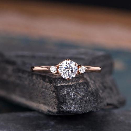 Rose Gold Moissanite Engagement Ring