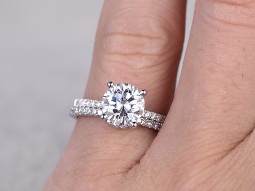 2 Carat Moissanite Engagement Ring Set Diamond Wedding Band White Gold  Curve Matching Thin Pave