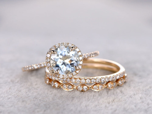 Aquamarine bridal ring set