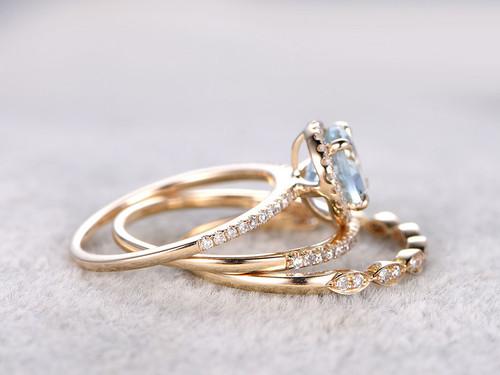 Aquamarine Bridal Ring Set Diamond Wedding Band Yellow Gold Art