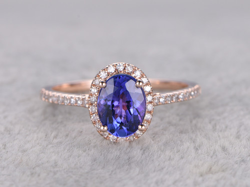 oval cluster ring top tanzanite