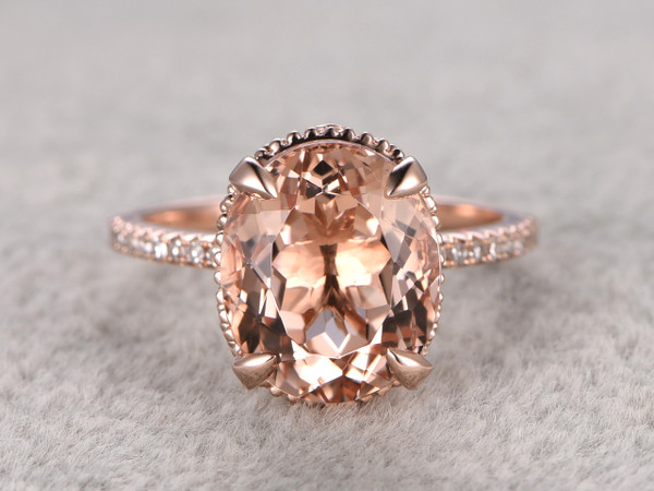9x11mm Oval 4.5 carat Morganite Engagement Ring Diamond Wedding Ring 14k Rose Gold  Filigree Retro Vintage Floral Set