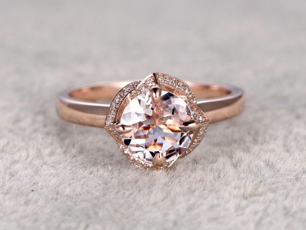 6.5mm Round Morganite Engagement Ring Diamond Wedding Ring 14k Rose Gold Claw Prongs Floral