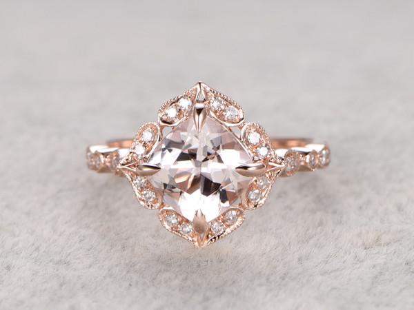 8mm Cushion Morganite Engagement Ring Diamond Wedding Ring 14k Rose Gold Floral Art Deco Antique