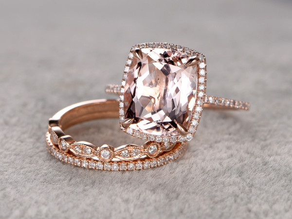 morganite wedding ring set