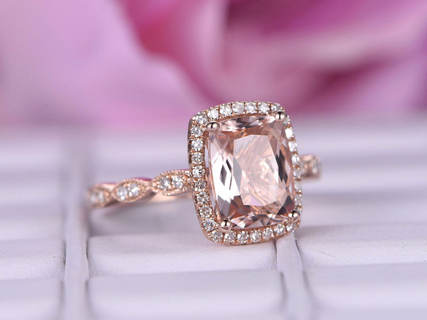 6*8mm Morganite Engagement ring with diamond in 14k rose gold