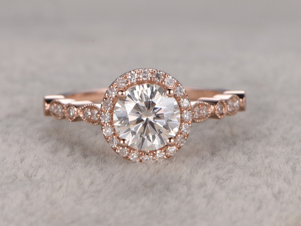 6.5mm Round Moissanite Engagement Diamond Wedding Ring 14k Rose Gold Marquise Art Deco Style