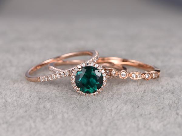 3pcs 7mm Round Emerald Wedding Set Diamond Bridal Ring 14k Rose Gold  Retro Vintage Art Deco