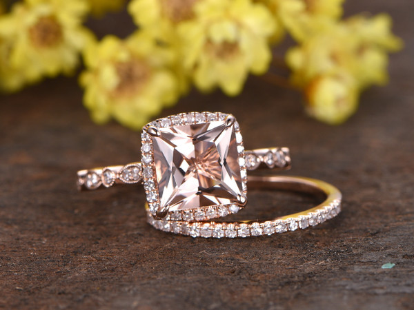 2.5 Carat Morganite Bridal Set 14k Rose Gold Diamond Princess Engagement Ring Princess Halo Stacking Matching Band