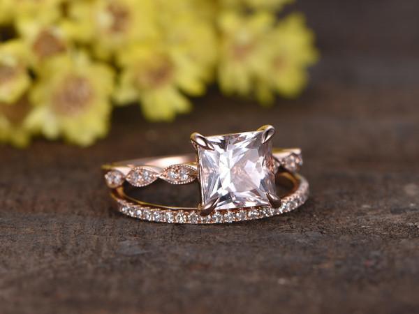 1.2 Carat Princess Cut Morganite Rose Gold Wedding Set Diamond Art Deco Milgrain Stacking Matching Band Bridal Ring