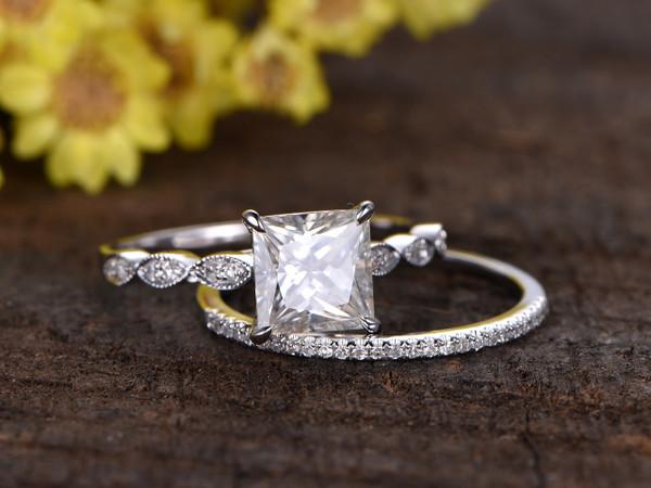 2 Carat Princess Cut Moissanite Engagement Ring Set Diamond Wedding
